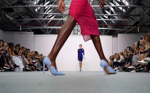 A model presents a creation at the Emilio De la Morena catwalk show during London Fashion Week Spring/Summer 2017 in London, Britain September 20, 2016. (Photo by Neil Hall/Reuters)