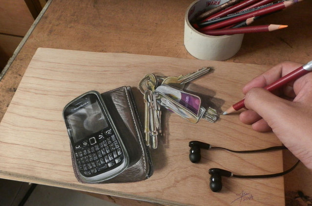 Ivan Hoos drawing of  a phone, wallet and a set of keys. (Photo by Ivan Hoo/Caters News)