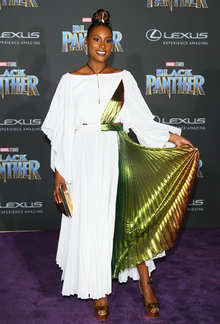 """Issa Rae attends the premiere of Disney and Marvel's """"Black Panther"""" on January 28, 2018 in Los Angeles, California. (Photo by JB Lacroix/WireImage)"""