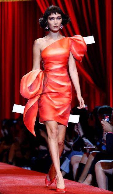 Model Bella Hadid presents a creation at the Moschino fashion show during Milan Fashion Week Spring/Summer 2017 in Milan, Italy, September 22, 2016. (Photo by Alessandro Garofalo/Reuters)
