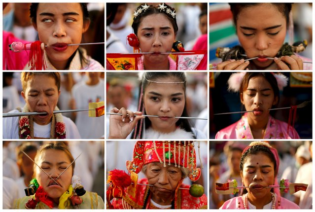 Devotees of the Chinese Jui Tui shrine are seen with spikes piercing their cheeks during a procession celebrating the annual vegetarian festival in Phuket, Thailand in this October 19, 2015 combination photo. (Photo by Jorge Silva/Reuters)