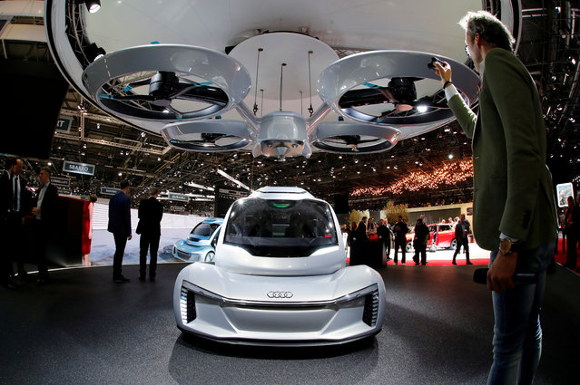 """The """"pop.up next"""" concept by Audi, Airbus and Italdsign is presented during the press day at the 88th Geneva International Motor Show in Geneva, Switzerland on Tuesday, March 6, 2018. (Photo by Denis Balibouse/Reuters)"""