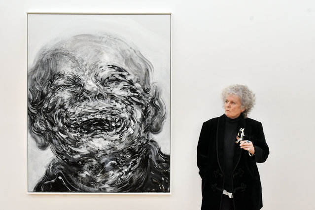 """The British artist Maggi Hambling with her artwork """"Laughing"""", 2018, at the preview for her new exhibition at the Marlborough Gallery in London, UK on October 14, 2020. (Photo by Nils Jorgensen/Rex Features/Shutterstock)"""