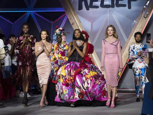 (L-R) Maria Borges, Bella Hadid, Naomi Campbell and Natalia Vodianova walk the runway at Fashion For Relief show during the 71st annual Cannes Film Festival at Aeroport Cannes Mandelieu in Cannes, France, 13 May 2018. (Photo by Arnold Jerocki/EPA/EFE)