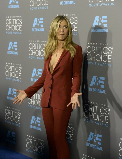 "Actress Jennifer Aniston from the film ""Cake"" arrives at the 20th Annual Critics' Choice Movie Awards in Los Angeles, California January 15, 2015. (Photo by Kevork Djansezian/Reuters)"