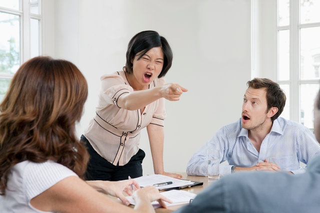 Female shouting in a meeting. (Photo by Zak Kendal/Getty Images)