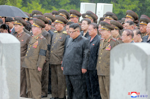 A state funeral of Marshal of the Korean People's Army Kim Yong Chun, member of the Central Committee of the Workers' Party of Korea, deputy to the DPRK Supreme People's Assembly and general adviser to the Ministry of the People's Armed Forces, took place on Monday in this photo released by North Korea's Korean Central News Agency (KCNA) on August 21, 2018. (Photo by KCNA via Reuters)