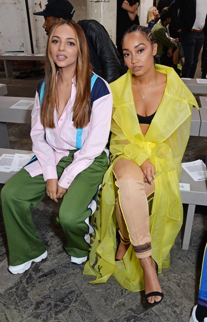 Little Mix's  Jade Thirlwall (L) and Leigh-Anne Pinnock of Little Mix attend the House Of Holland front row during London Fashion Week September 2018 at the My Beautiful City Show Space on September 15, 2018 in London, England. (Photo by David M. Benett/Dave Benett/Getty Images)