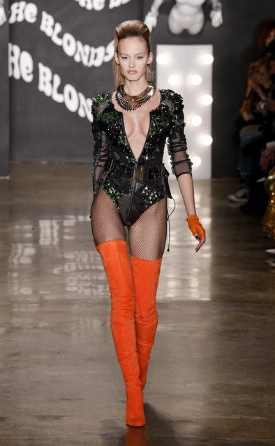 A model walks the runway at The Blonds show during Mercedes-Benz Fashion Week Fall 2015 at Milk Studios on February 18, 2015 in New York City. (Photo by Brian Ach/Getty Images)