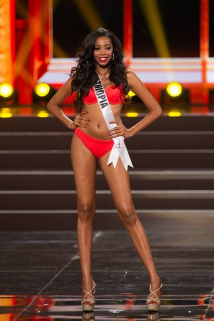 This photo provided by the Miss Universe Organization shows Mhadere Tigabe, Miss Ethiopia 2013, competes in the swimsuit competition during the Preliminary Competition at Crocus City Hall, Moscow, on November 5, 2013. (Photo by Darren Decker/AFP Photo)