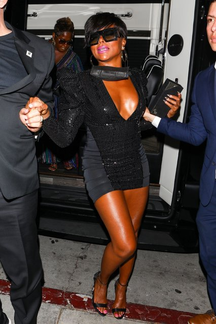 American actress Taraji P. Henson turns heads and commands attention as she is seen arriving to BOA Steakhouse after the BET Awards in Hollywood, CA. on June 27, 2021. (Photo by Backgrid USA)