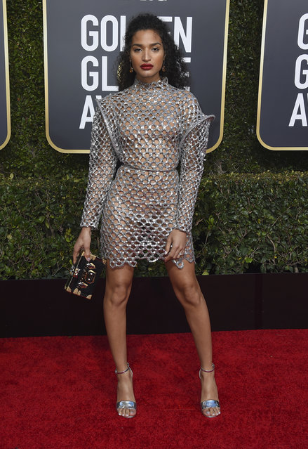 Indya Moore arrives at the 76th annual Golden Globe Awards at the Beverly Hilton Hotel on Sunday, January 6, 2019, in Beverly Hills, Calif. (Photo by Jordan Strauss/Invision/AP Photo)