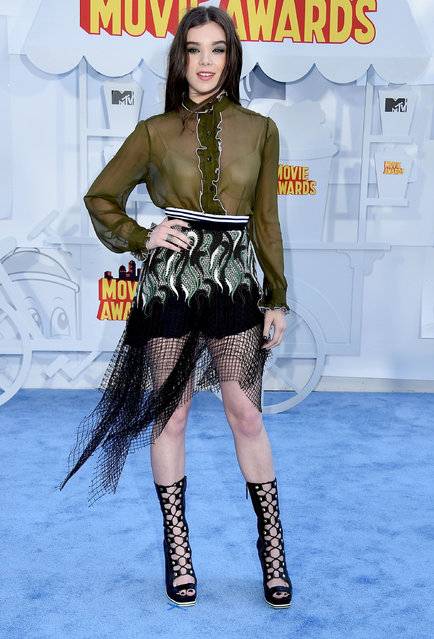 Actress Hailee Steinfeld attends the 2015 MTV Movie Awards at Nokia Theatre L.A. Live on April 12, 2015 in Los Angeles, California. (Photo by Steve Granitz/WireImage)