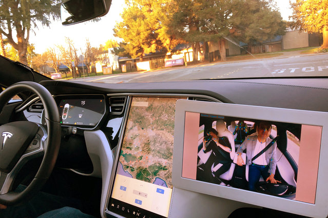 Occupants, inside a car, are seen on a monitor using technology by Silicon Valley company Eyeris, which uses cameras and AI to track drivers and passengers for safety benefits, shown during an interview in San Jose, California, U.S., December 28, 2018. (Photo by Alexandria Sage/Reuters)