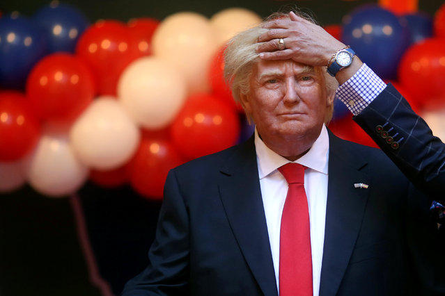 A museum worker fixes the hair of a life-sized wax statue of U.S. President-elect Donald Trump during an unveiling ceremony at Madrid's wax museum in Madrid, Spain, January 17, 2017. (Photo by Susana Vera/Reuters)