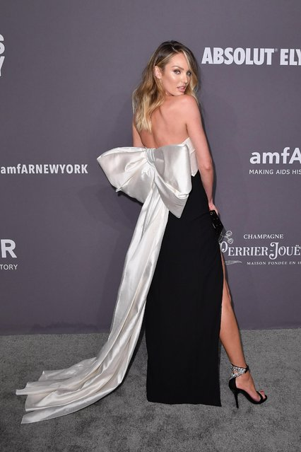 South African model Candice Swanepoel arrives to attend the amfAR Gala New York at Cipriani Wall Street in New York City on February 6, 2019. (Photo by Angela Weiss/AFP Photo)