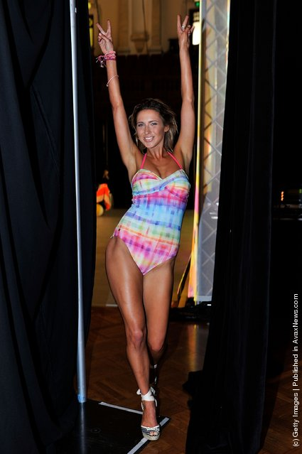 Models pose backstage ahead of the Speedo show as part of Mercedes Benz Fashion Festival Sydney 2011