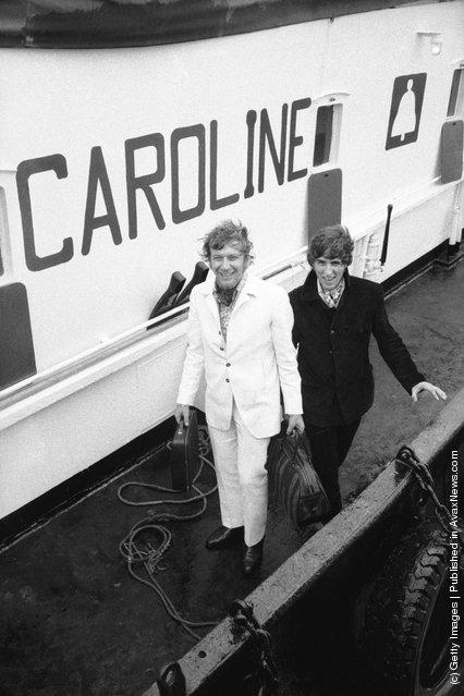 Disc jockeys Johnnie Walker and Robbie Dale of ship-based pirate radio station Radio Caroline