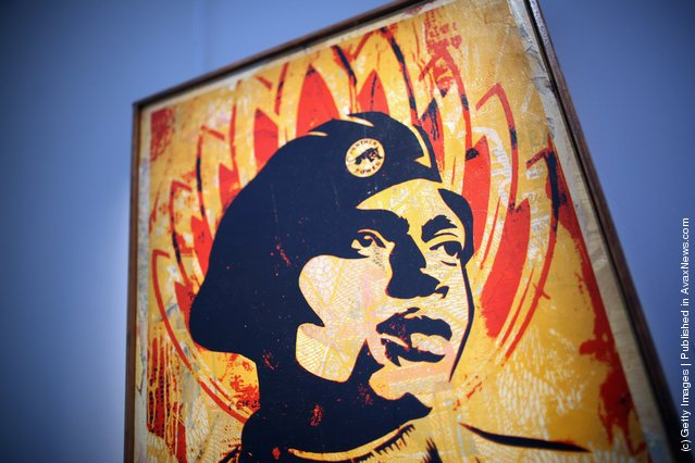 A piece of work entitled Black Panther by Shepard Fairey