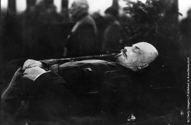 1924:  Vladimir Ilyich Lenin lying in state in the Kremlin