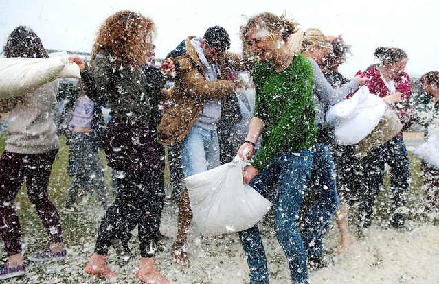 People participate in International Pillow Fight Day in Berlin. (Photo by Maurizio Gambarini/DPA)