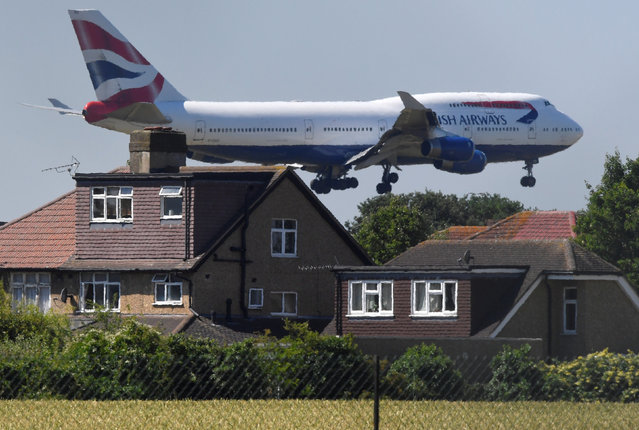 A British Airways Boeing 747 comes in to land at Heathrow aiport in London, Britain, June 25, 2018. (Photo by Toby Melville/Reuters)