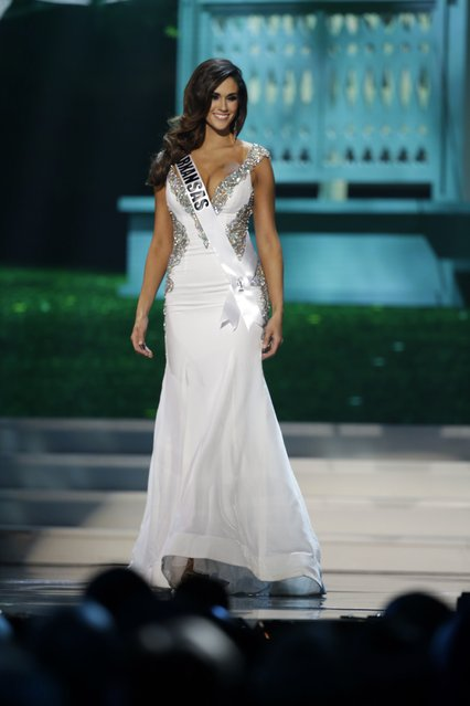 Miss Arkansas, Leah Blefko, competes in the evening gown competition during the preliminary round of the 2015 Miss USA Pageant in Baton Rouge, La., Wednesday, July 8, 2015. (Photo by Gerald Herbert/AP Photo)
