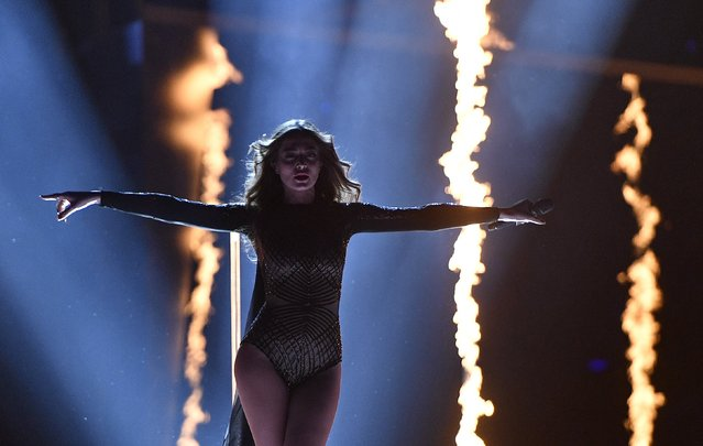 Armenia's Iveta Mukuchyan performs the song 'LoveWave' during the Eurovision Song Contest final in Stockholm, Sweden, Saturday, May 14, 2016. (AP Photo/Martin Meissner)