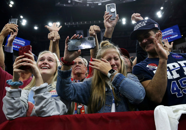 Supporter Katie Bohm reacts as U.S. President Donald Trump holds a campaign rally in Minneapolis, Minnesota, U.S., October 10, 2019. (Photo by Leah Millis/Reuters)