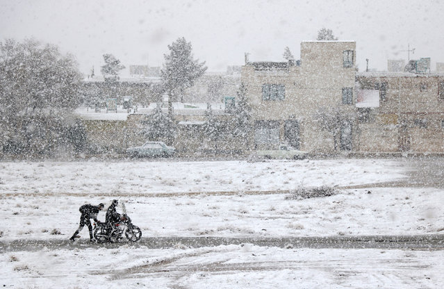 """Motorcycle Caught in the Snow"". The under-17s runner-up was Ali Bagheri for this wintry image of Iran. (Photo by Ali Bagheri/2019 Weather Photographer of the Year/RMetS)"