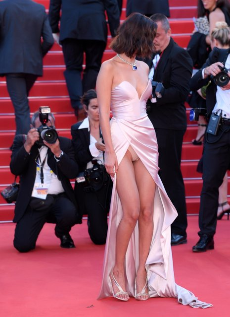 """US model Bella Hadid arrives for the screening of """"Les Fantomes d'Ismael"""" (Ismael's Ghosts) and the Opening Ceremony of the 70th annual Cannes Film Festival in Cannes, France, 17 May 2017. (Photo by David Fisher/Rex Features/Shutterstock)"""