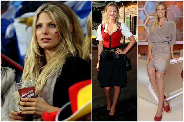 Sarah Brandner drew plenty of eyes in the stands at the European Championships two years ago. Now the 5-foot-11 model, whose beach trips with Germany's Bastian Schweinsteiger are a paparazzi favorite, will be seen by many more. (Photo by Getty Images/Splash News)