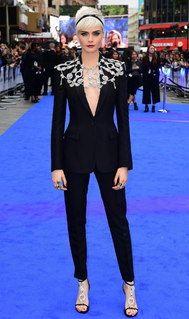 "Cara Delevingne poses at the European premiere of ""Valerian and the City of a Thousand Planets"" in London, Britain on July 24, 2017. (Photo by PA Wire)"