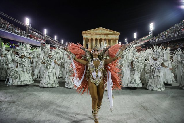 Members of Unidos da Tijuca samba school perform during the second night of the Carnival parade at the Sambadrome in Rio de Janeiro, Brazil on February 25, 2020. (Photo by Ricardo Moraes/Reuters)