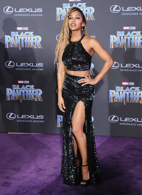 """Meagan Good attends the Los Angeles Premiere """"Black Panther"""" at Dolby Theatre on January 29, 2018 in Hollywood, California. (Photo by Jon Kopaloff/FilmMagic)"""