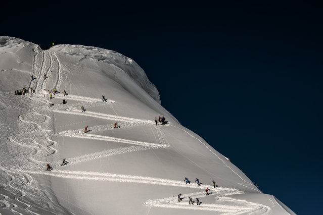Skiers compete on March 14, 2018 during the first stage of the 33rd edition of the Pierra Menta ski mountaineering competition in Areches-Beaufort, France. (Photo by Jeff Pachoud/AFP Photo)