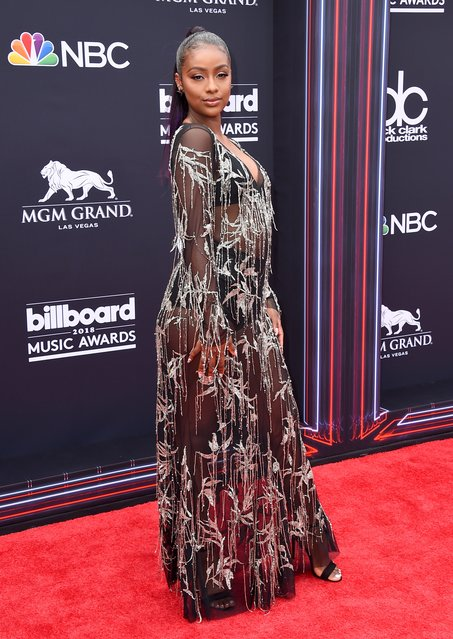 Justine Skye arrives at the Billboard Music Awards at the MGM Grand Garden Arena on Sunday, May 20, 2018, in Las Vegas. (Photo by Jordan Strauss/Invision/AP Photo)