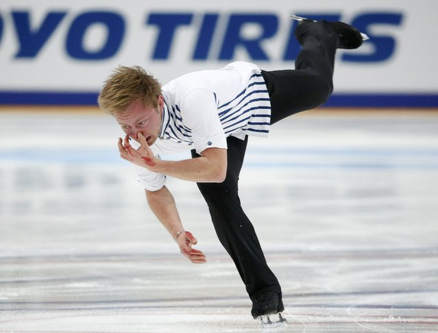 Figure Skating, ISU Grand Prix Rostelecom Cup 2016/2017, Men's Free Skating in Moscow, Russia on November 5, 2016. Alexander Majorov of Sweden has a bleeding nose during the competition. (Photo by Grigory Dukor/Reuters)