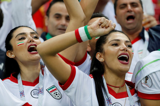 Iran fans inside the stadium before the Russia 2018 World Cup Group B football match between Iran and Spain at the Kazan Arena in Kazan on June 20, 2018. (Photo by Jorge Silva/Reuters)