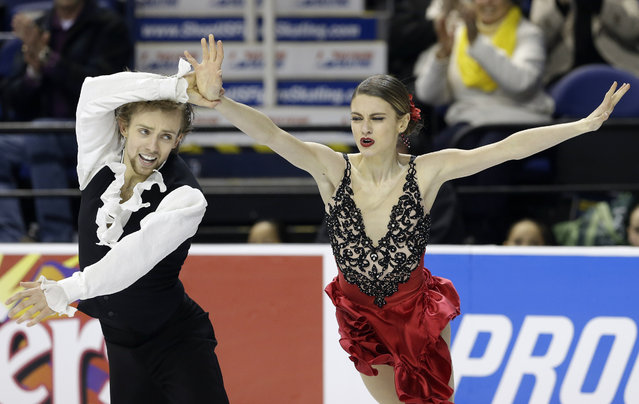 Kaitlin Hawayek, right, and Jean-Luc Baker perform during their short dance program in the U.S. Figure Skating Championships in Greensboro, N.C., Friday, January 23, 2015. (Photo by Gerry Broome/AP Photo)