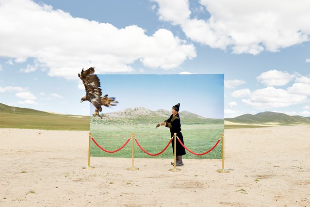 Up to 35% of Mongolians still live a nomadic life, depending on their land to survive. But environmental changes, particularly desertification, means this way of life is under threat. Korean photographer Daesung Lee's Futuristic Archaeology images show billboard-size backdrops of lush steppe contrasting with actual scenery as former nomads enact scenes of hunting, herding and Mongolian wrestling. (Photo by Daesung Lee)
