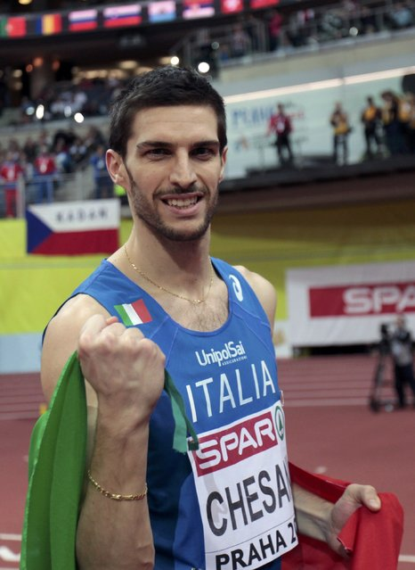 Silvano Chesani of Italy celebrates his second place at the men's high jump final during the European Indoor Championships in Prague March 8, 2015. REUTERS/David W Cerny (CZECH REPUBLIC  - Tags: SPORT ATHLETICS)