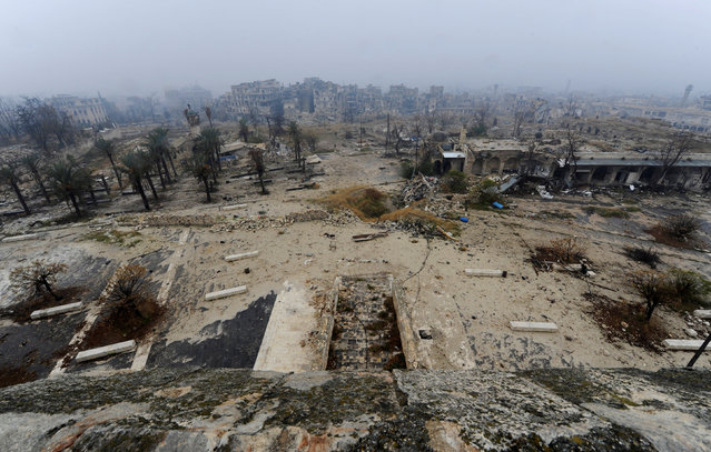 A view shows the damage as seen from Aleppo's historic citadel, during a media tour, Syria December 13, 2016. (Photo by Omar Sanadiki/Reuters)