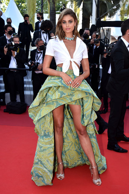 """Taylor Hill attends the """"Tre Piani (Three Floors)"""" screening during the 74th annual Cannes Film Festival on July 11, 2021 in Cannes, France. (Photo by Lionel Hahn/Getty Images)"""