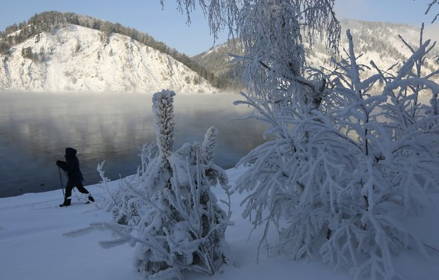 A person walks along a bank of the Yenisei river on a frosty winter day outside Krasnoyarsk, Siberia, Russia January 11, 2017. (Photo by Ilya Naymushin/Reuters)