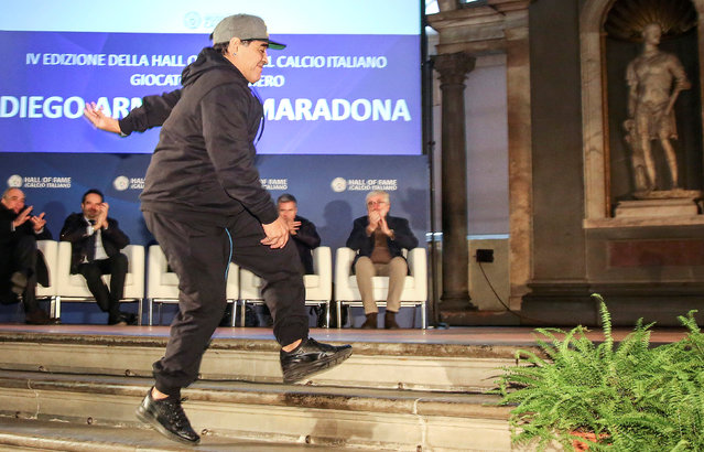 Argentinian soccer legend Diego Armando Maradona attends the Italian soccer Hall of Fame 2017 event in Florence, Italy, January 17, 2017. (Photo by Leonardo Bianchi/Reuters)