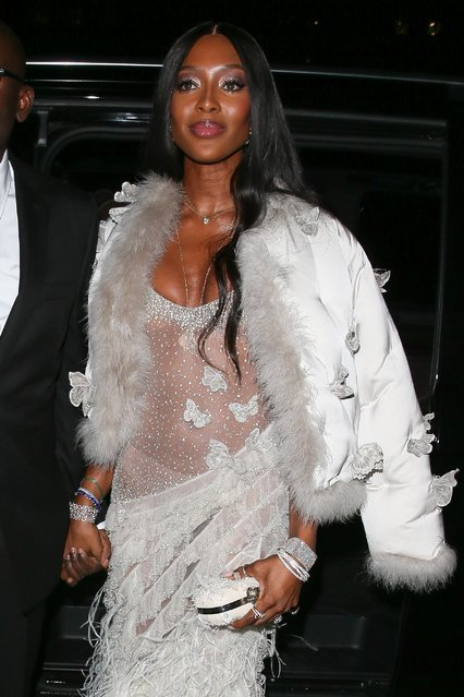 Naomi Campbell seen attending the Vogue BAFTA party at Annabel's club in Mayfair on February 10, 2019 in London, England. (Photo by WENN)