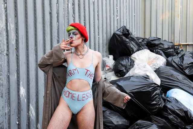 """A reveller attends drag extravaganza """"Bushwig"""" that was cancelled last year due to the coronavirus disease (COVID-19) pandemic in New York City, New York, U.S., September 12, 2021. (Photo by Stephanie Keith/Reuters)"""