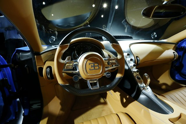 The interior of the new Bugatti Chiron car is pictured during a presentation ahead of the 86th International Motor Show in Geneva, Switzerland, February 29, 2016. (Photo by Denis Balibouse/Reuters)
