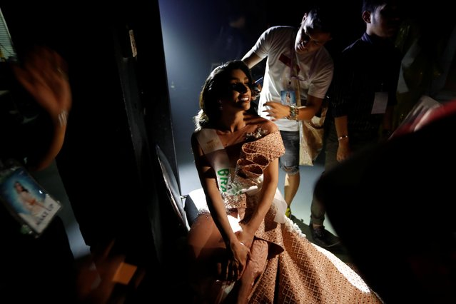 Rafaela Manfrini of Brazil prepares backstage during the final show of the Miss International Queen 2019 transgender beauty pageant in Pattaya, Thailand on March 8, 2019. (Photo by Jorge Silva/Reuters)